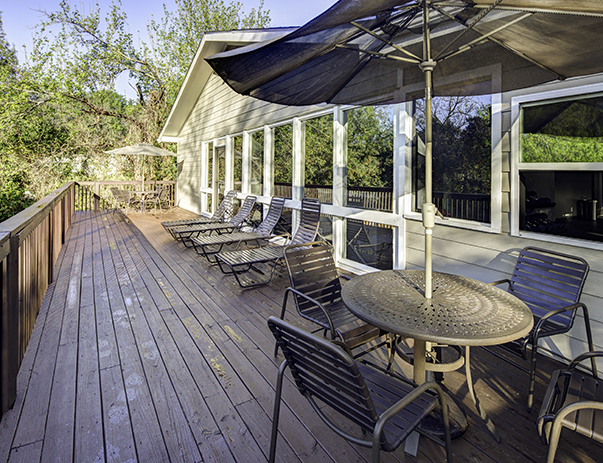 Sun deck & patio at River Mill