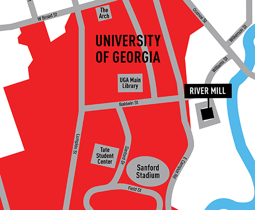 Close to the UGA campus.