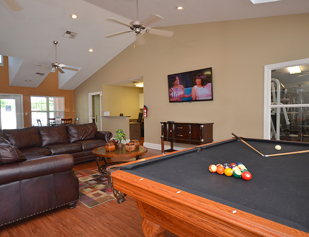 Game room at College Club Townhomes