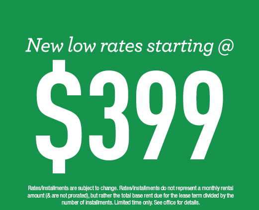 New low rates starting at $399