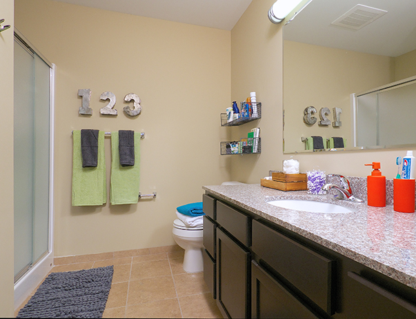 Private, spacious bathroom at Cardinal Towne