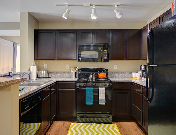 Fully equipped kitchen at Cardinal Towne