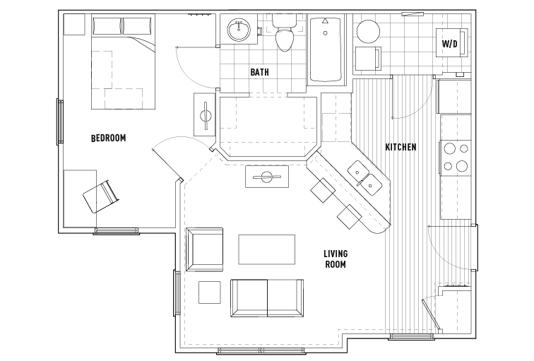 1 Bed - 1 Bath Dlx Large