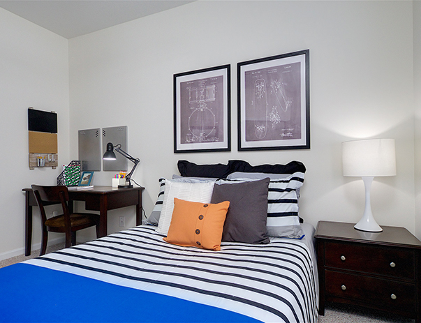 Fully furnished bedroom at The Province Louisville