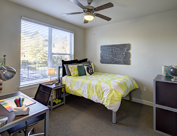 Fully furnished bedroom at University Walk