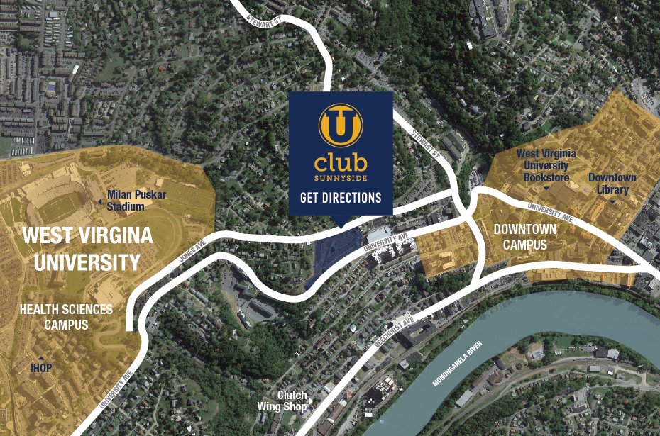 Downtown Campus Map Wvu.U Club Sunnyside 2 4 Bedroom Apartments Near Wvu