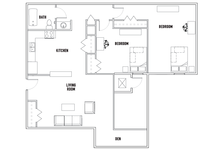 2 Bed - 1 Bath with Den - Tower