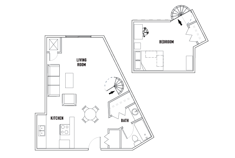 1 Bed - 1 Bath Loft - Tower