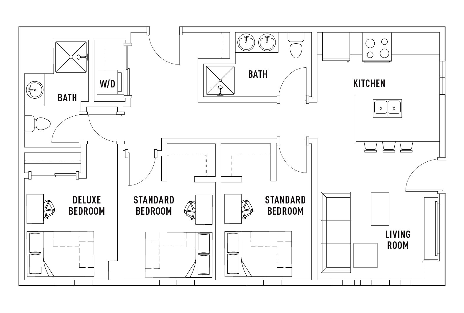 3 Bedroom 2 Bathroom D Standard Floor Plans Hub
