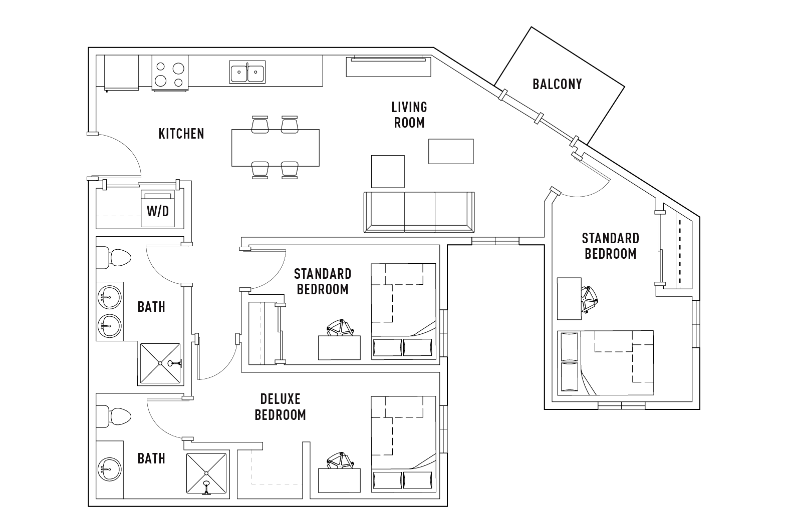 3 Bedroom 2 Bathroom E Standard Balcony Floor Plans