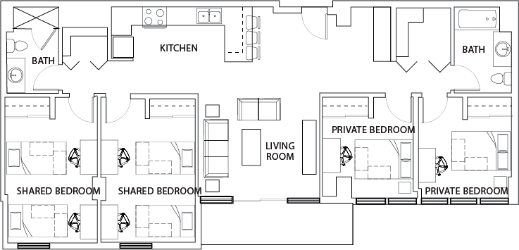 4 bed 2 bath b shared 922 place student housing for Shared bathroom layout