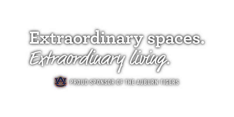 Extraordinary spaces. Extraordinary living. Auburn University student housing. Proud sponsor of the Auburn Tigers.