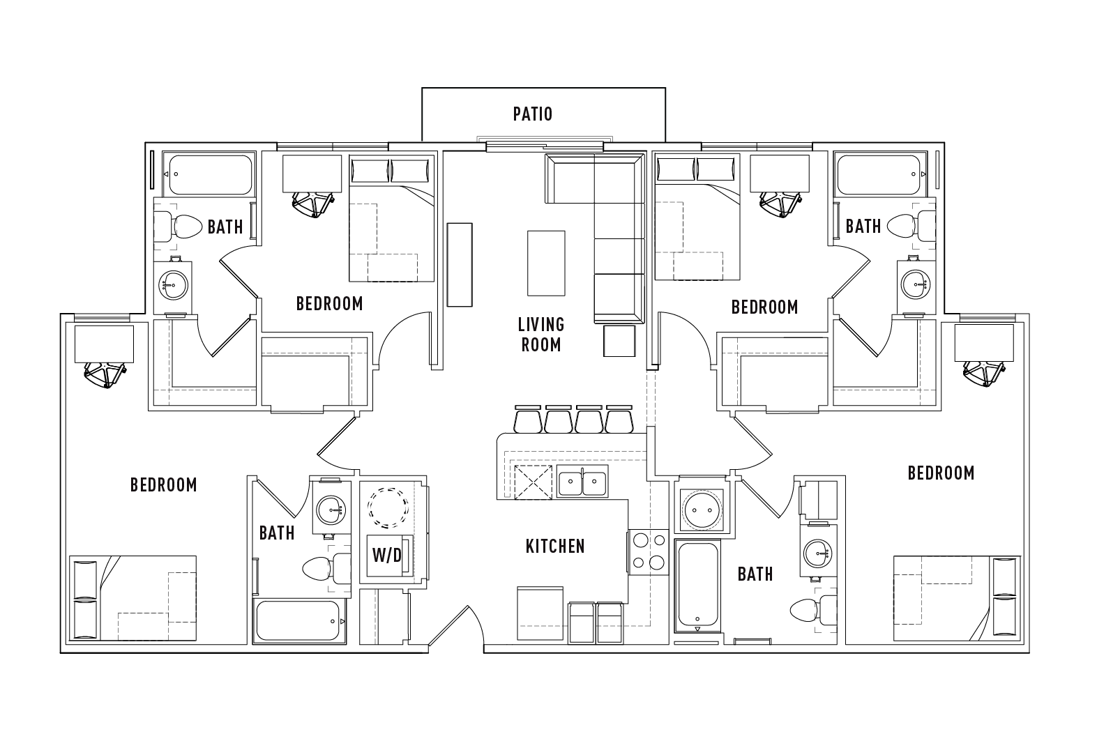 4 Bed   4 Bath A With Patio