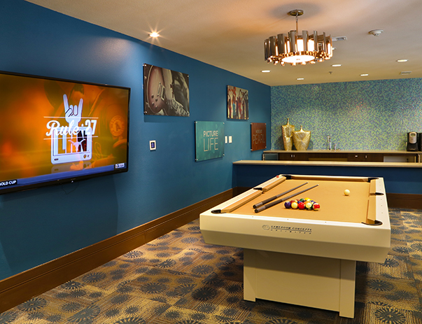 Game room at Crest at Pearl