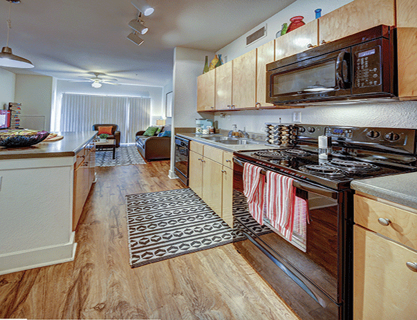 Fully equipped kitchen at Sanctuary Lofts in San Marcos, TX near Texas State University