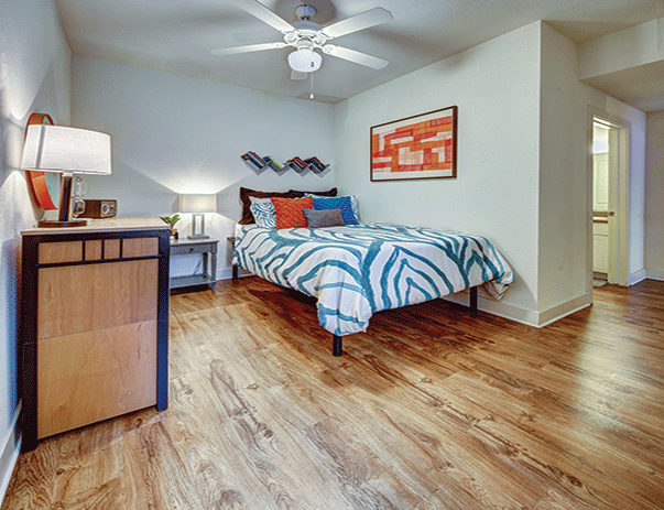 Fully furnished, private bedroom at Sanctuary Lofts in San Marcos, TX near Texas State University