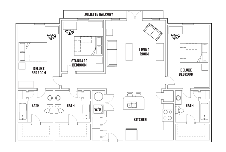 3 Bed - 3 Bath A Deluxe