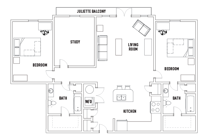 2 Bed - 2 Bath with Study