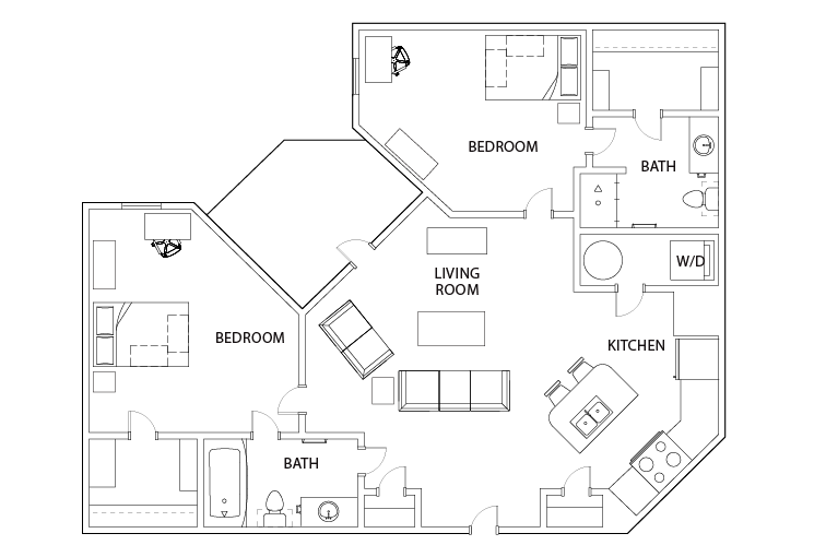 2 Bedroom 2 Bath Double Occupancy Suite C likewise 4 Bedroom 4 Bath Townhome in addition Furniture Arrangements moreover Studio B Smart also Productview. on dresser entertainment center