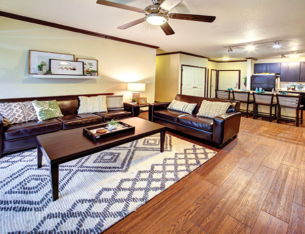 Fully furnished living room at Vistas San Marcos near Texas State University in San Marcos, TX 78666