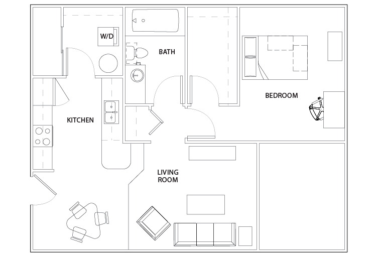 1 bed - 1 bath - the outpost - student housing