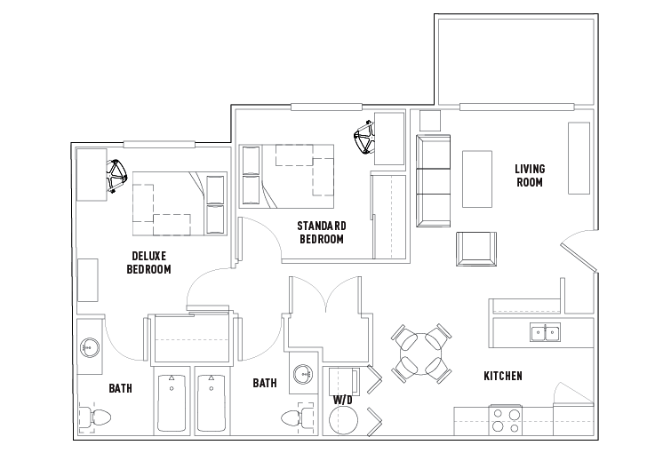 2 Bed 2 Bath The Outpost Student Housing San