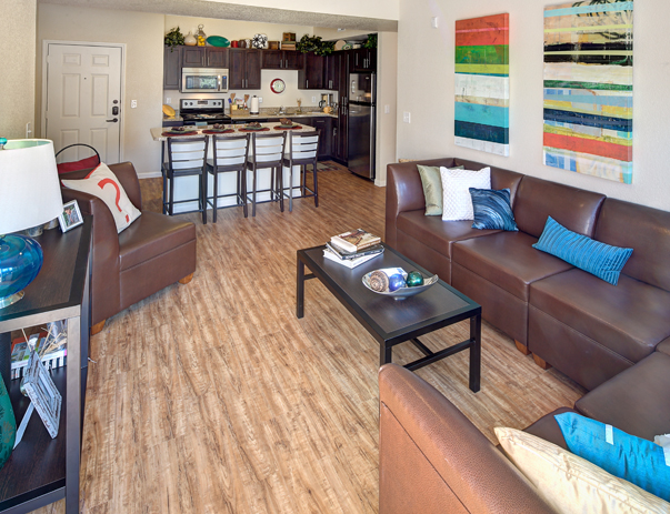 Fully furnished living room at Campus Edge on UTA Blvd in Arlington, TX near the University of Texas at Arlington