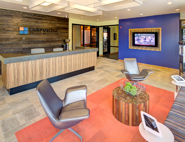 Lobby at Campus Edge on UTA Blvd in Arlington, TX near the University of Texas at Arlington