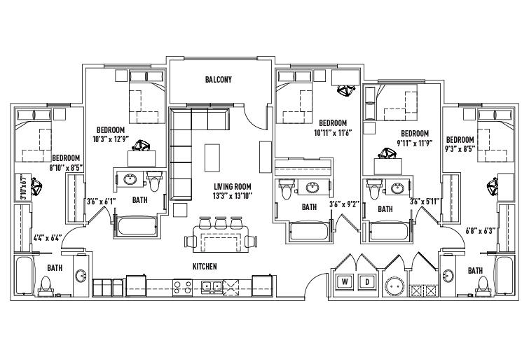 5 Bed - 5 Bath - 21Hundred at Overton Park - Student Housing ...