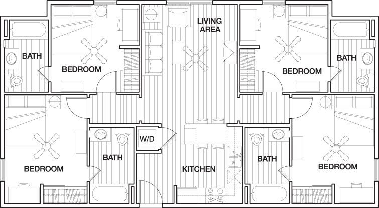 4 Bed - 4 Bath  (12 month lease)