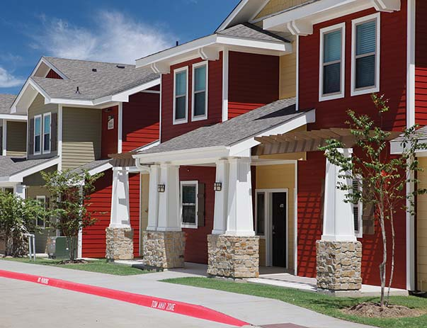 Exterior view of U Club Townhomes on Marion Pugh near Texas A&M University