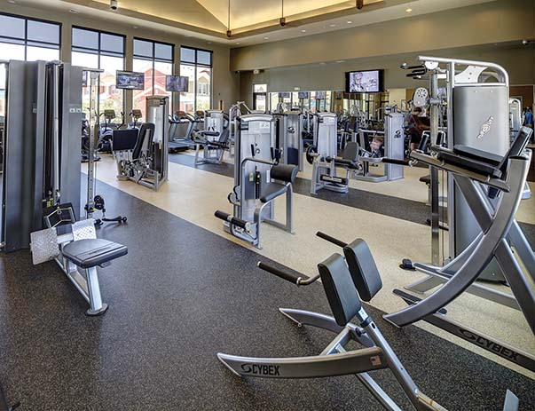 Fitness center at U Club Townhomes on Marion Pugh