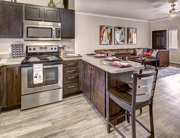 Fully equipped kitchen at U Club Townhomes on Marion Pugh