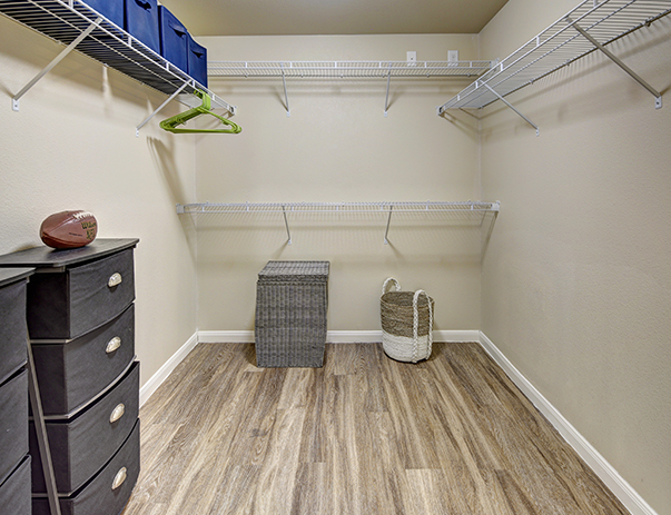 Walk-in closets available at U Club Townhomes on Marion Pugh