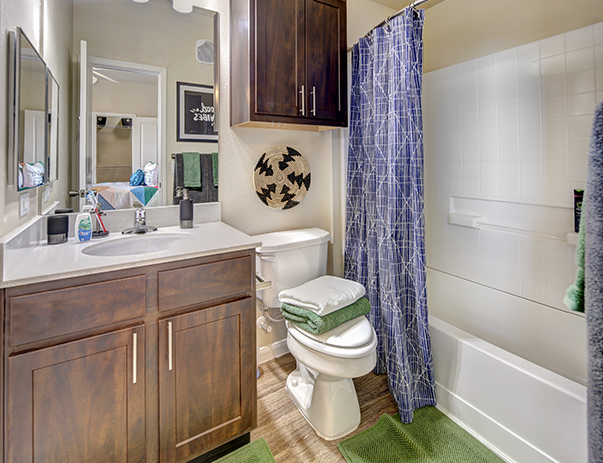 Private bathroom at U Club Townhomes on Marion Pugh