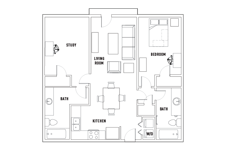 1 bed 1 bath with study union student housing waco tx for Study bed plans