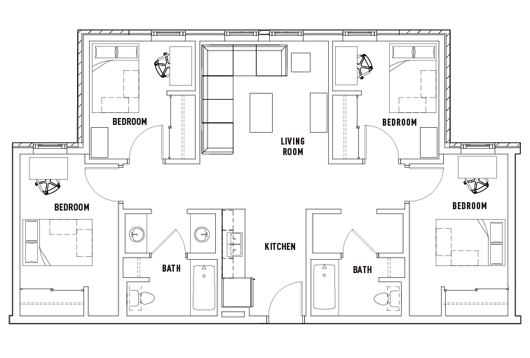 4 Bedroom 2 Bath Honors Academic Village Student Housing – Student Housing Floor Plans