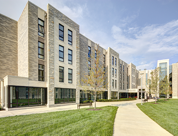 Exterior view of Honors Academic Village near the University of Toledo
