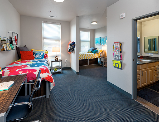 Fully furnished, shared bedroom at Honors Academic Village
