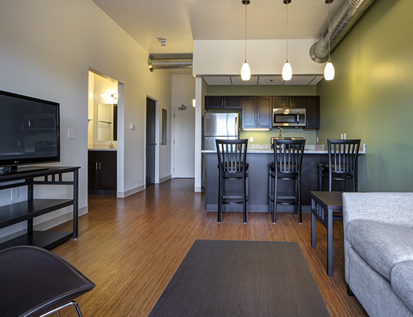 Fully furnished living room at Lofts at Gateway