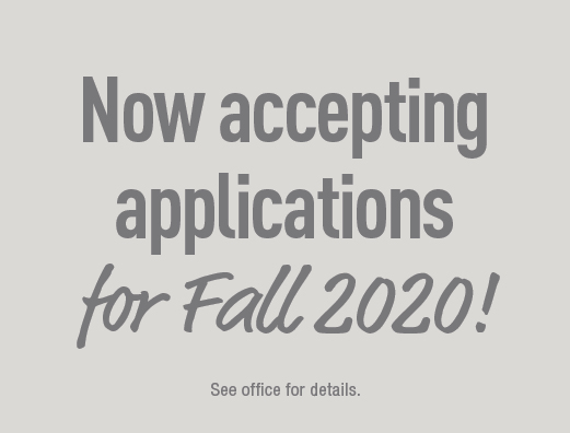 Now accepting applications for Fall 2020!