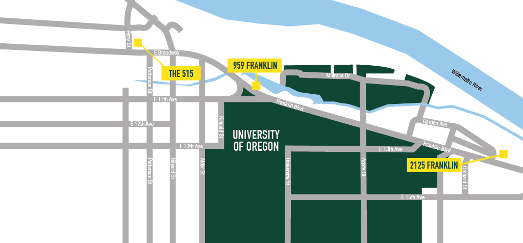 Map of apartments near University of Oregon. 2125 Franklin, The 515, 959 Franklin.