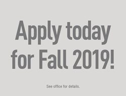 Apply today for Fall 2019!