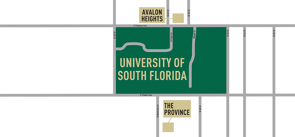 Map of apartments near USF. The Province & Avalon Heights.