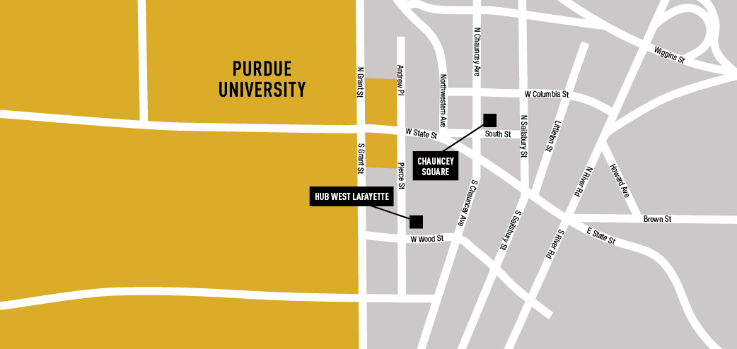 Map of Purdue apartments near campus.