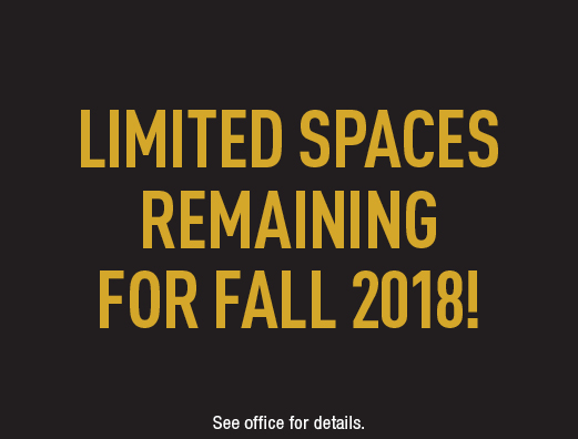 Limited spaces available for Fall 2018! Apply now.