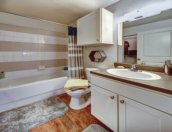 Private bathroom at Sanctuary Lofts in San Marcos, TX near Texas State University