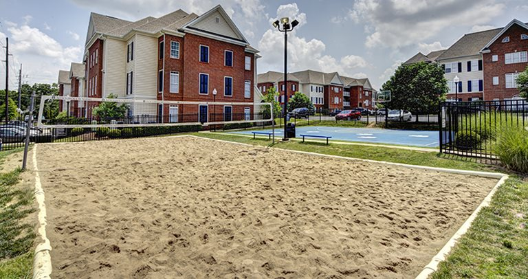 Volleyball court at Newtown Crossing