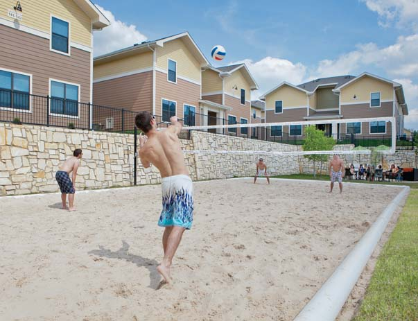 Sand volleyball court at Villas on Sycamore
