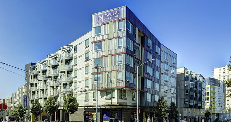 Exterior view of TWELVE at U District near the University of Washington
